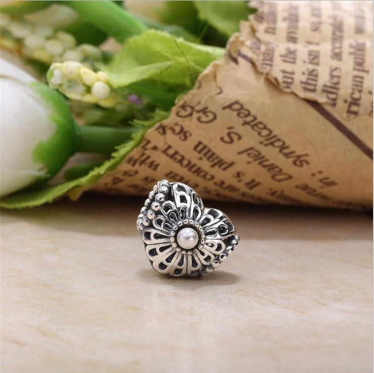 The New 925 Sterling Silver mosaic pearl Hollow Love heart charms beads berloque Fits Pandora Bracelets DIYJewelry accessorie