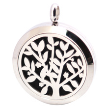 New Design Family Trees 30mm Aromatherapy Essential Oils Stainless Steel pendant Perfume Diffuser Locket Necklace