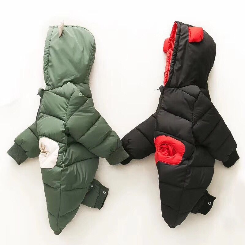 Toddler Down Jacket Jumpsuit Newborn Baby Rompers One-pieces Climbing Clothes Cute Bear Winter Parka Snow Wear For 3M-12M<br>