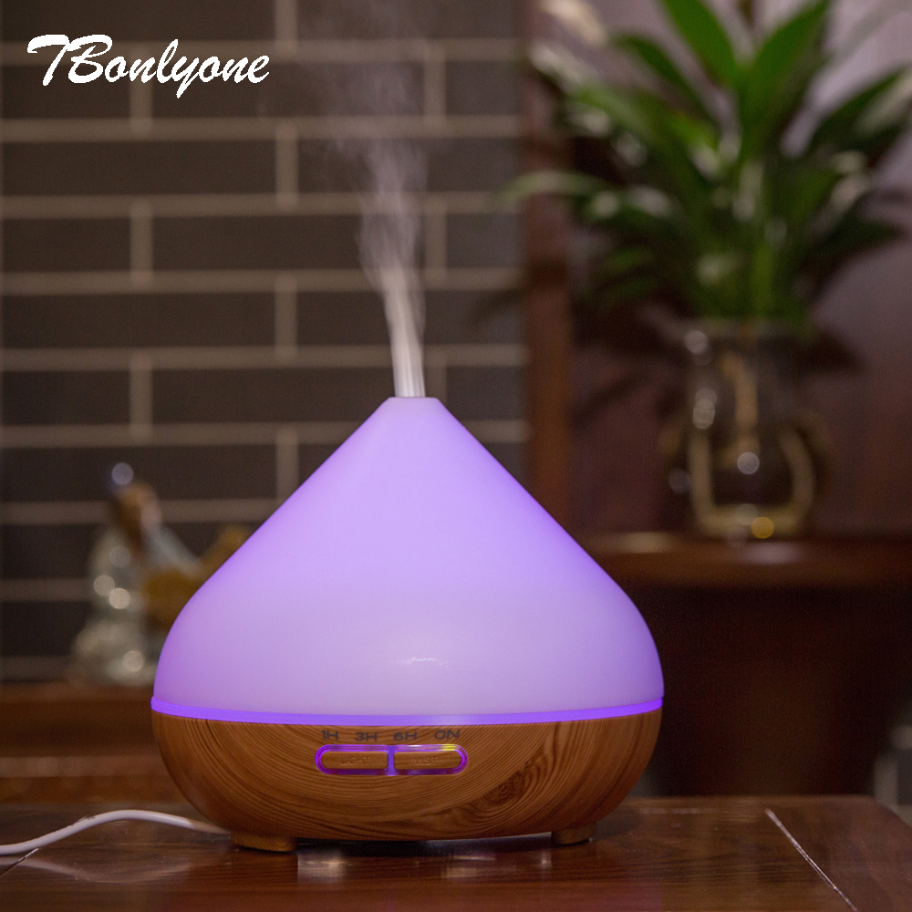 TBonlyone 300ML Air Humidifier Essential Oil Diffuser Aroma Lamp Aromatherapy Electric Aroma Diffuser Mist Maker for Home-Wood<br>