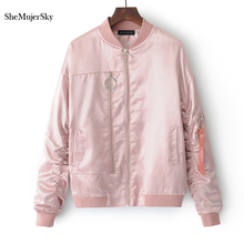 SheMujerSky Women Jacket Zipper Embroidery Letters jaket women Pink Outerwear Womens jaquetas feminino veste femme manche longue(China)