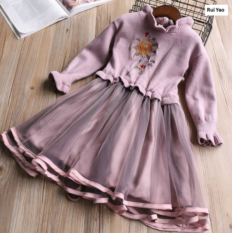 YP31941682 2017 New Fashion Baby Girls Dress Sweater Patchwork Toddler Girl Dress Worm Full Sleeve Baby Dress Girls Clothes <br>