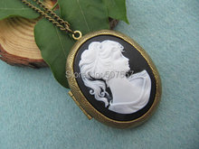 Wholesale Elegant lady cameo locket necklace goddess jewelry bestfriend gfit vintage style gifl woman daughter gift idea(China)