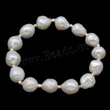 Free shipping Nautral Freshwater Pearl Bracelet Gold-color beads 9-10mm white pearl bracelet for women natural keshi pearl