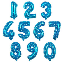 APRICOT Blue Stars Number Foil Balloons Digit air Ballons Happy Birthday Wedding Decoration Letter balloon Event Party Supplies