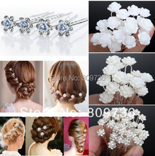 NEW 20/40pcs Wedding Bridal hair pin Crystal Faux Pearl Flower Shiny Hair pins Hair Clips Fashion Women Jewelry Wholesale Lots