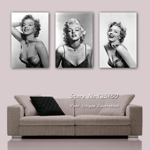 Vintage Marilyn Monroe Canvas Art Black White Oil Canvas Paintings Printed Sexy Actress Wall Pictures For Living Room No Frame