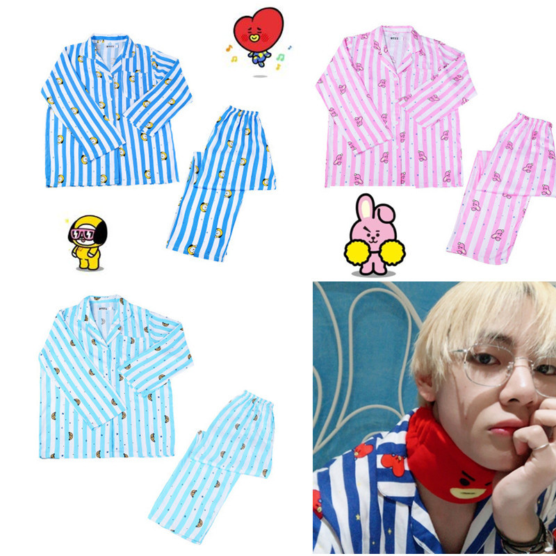 KPOP Bangtan Boys Cartoon V SUGA Same CHIMMY RJ Pajamas Men Women Long Sleeve Shirt Striped COOKY TATA Nightwear HF193