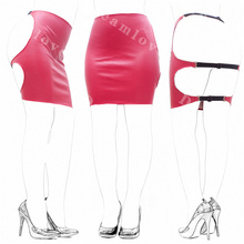 Female Open Hip Buttock Exposing Wetlook Faux Leather Spanking Skirt Tight Fit Erotic Lingerie Mini Dress Catsuit(China)