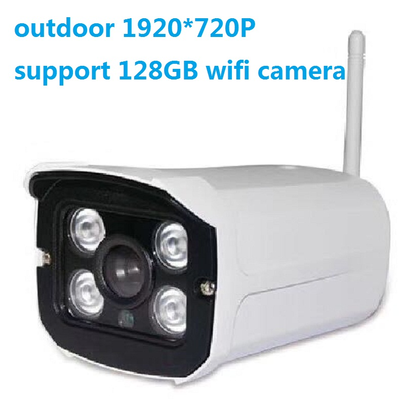 Wifi Aluminum Metal Waterproof Outdoor 720P 1.0MP Wireless Security IP Camera  4PCS ARRAY LED Night Vision Support 128GB TF <br>