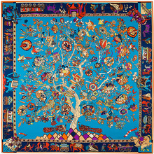 Lady Elephant Horse Totem Life of Tree Print Twill Silk Scarf for women Spring Summer Neck Scarves Bandanas Big Foulard Femme