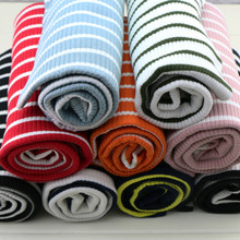 New 50*120cm striped 4 way stretchy cotton knitted fabric Cotton and Spandex fabric for  DIY T-shirt  fashion apparel fabric