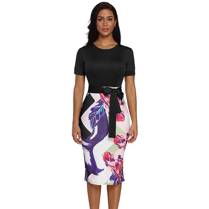 Black-Bowknot-Short-Sleeve-Printed-Sheath-Dress-LC610096-2-1