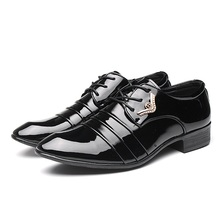 Patent Leather Business Oxfords Men Dress Shoes Lace-up Black Flats Fashion Party Wedding Shoes Career Flat Shoes Zapatos Male(China)