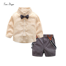 Gentleman baby boy clothes 2017 fashion bow tie shirt +pants baby set newborn baby boy clothing sets summer clothes wedding suit