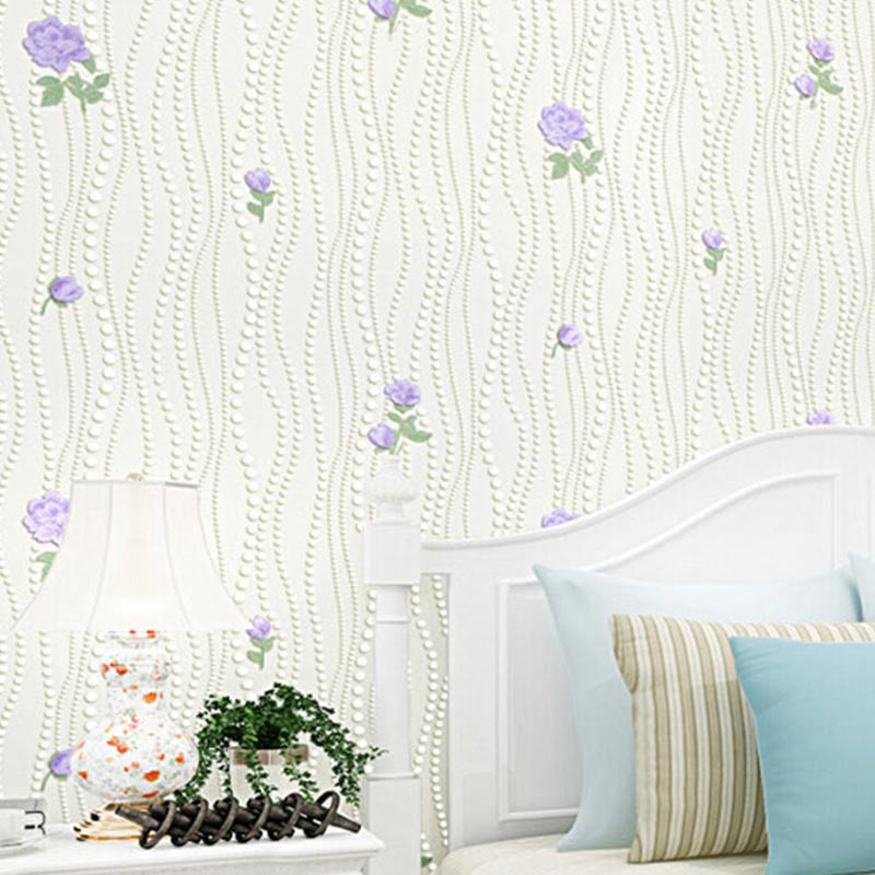 Non-woven wallpaper 3D stereoscopic flower garden flocking simple living room TV backdrop bedroom vertical striped wallpaper<br><br>Aliexpress