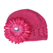 Sep knit cap for newborn Cute Big Flower Baby Kid Infant Toddler Girl Warm Knit Hat Cap woolen caps for kids gorros price Feb09(China)