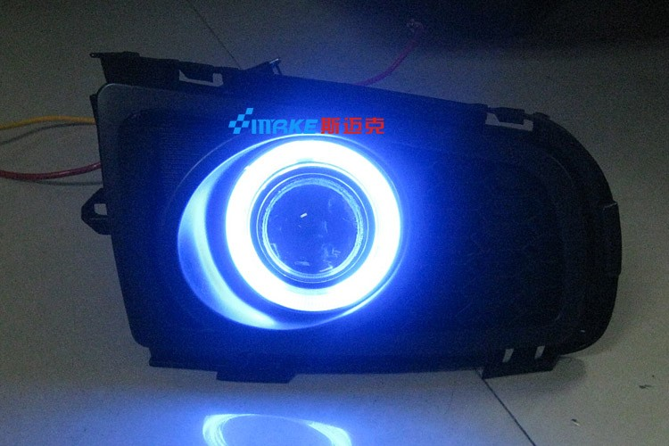 LED DRL daytime running light CCFL angel eye, projector lens fog lamp with cover for mazda 6 M6 2005-10, 2 pcs<br><br>Aliexpress