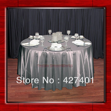 "Silver 108"" Round Shaped Poly Satin Table Cloth /Banquet Tablecloths/Table Linen/ For Wedding Party Decorating(China)"