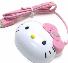 Wholesale Free Shipping Dropship 3D Hello Kitty Wired Mouse USB 2.0 Pro Gaming Mouse Optical Mice For Computer PC(China)