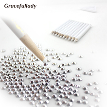 Free shpping 10pcs/Set 7.5cm Top Professional Wooden Dotting Pencils Point Drill Pen for Nail Art Rhinestones Gems Picking Tools