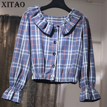[XITAO] Korea Autumn Women 2017 Casual Plaid Pattern Ruffled Collar Puff Sleeve Blouses Female Full Sleeve Short Shirts XWW495(China)