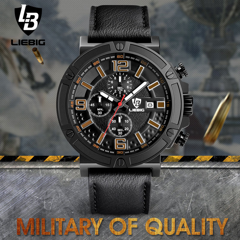 LIEBIG Men Military Quartz Wristwatches Calendar Leather Waterproof Fashion Sports Watches Commander Relogio Masculino ZHG161013<br>