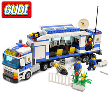 GUDI City Police Mobile Police Unit Blocks 407pcs Bricks Building Blocks Sets Educational Toys For Children(China)
