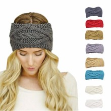 Solid Wide Knitting Woolen Headband Winter Warm Ear Crochet Turban Hair Accessories For Women Girl Hair Band Headwraps #PY20(China)