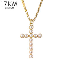 17KM New Design Fashion  Chain simulated Pearl Cross Pendants Necklace Statement long necklace jewelry for women