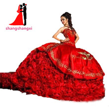 2017 Real Red Gold Embroidery Ball Gown Quinceanera DressesRuffles Organza Skirt With Train Vestidos De 15 Anos Sweet 16 Dresses(China)