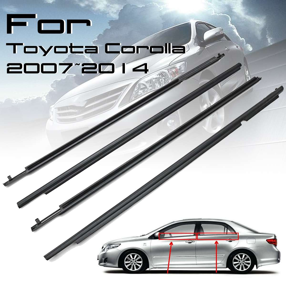 For Toyota Corona RT4# Sedan Door Glass Outer Belt Molding Weatherstrip