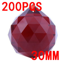 Sales Dark Red 200pcs,Free Shipping 30mm Crystal Faceted Balls,Crystal Ball For Chandelier Parts&Wedding,X-Mas Event Party Decor(China)