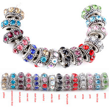 free shipping 1pc silver European round 14 colors crystal can choose big hole bead charm Fits Pandora Charm Bracelets A115