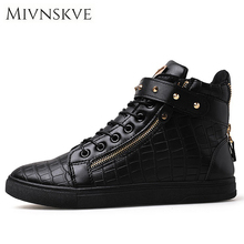 Buy MIVNSKVE Fashion Designer Handmade Pu Leather Men Shoes 2017 Autumn High Top Round Toe Zipper Men Casual Shoes Flat Shoes Men for $20.49 in AliExpress store