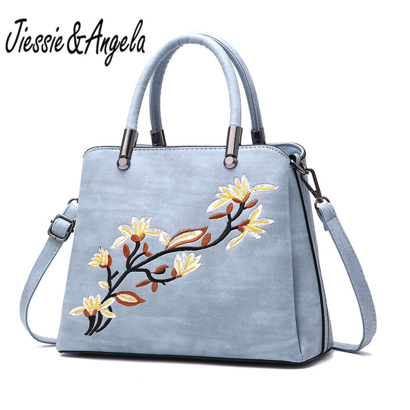 Jiessie &amp; Angela New Embroidery Flower Tote Bags Ladys Women Leather Bag Casual Handbag High Quality Women Shoulder Purse <br>