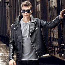 KENNTRICE Winter Mens Winter Leather Jackets Moto Brand Man Pilot Leather Jacket Quilted Black Faux Leather Coats Male