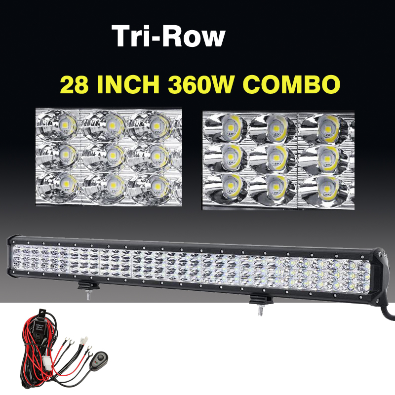 28 360W Cree Chips 3-Row Car LED Light Bar 6D Combo Beam LED Work Driving Light For 4x4 Off-Road ATV SUV Truck Boat 12V 24V<br><br>Aliexpress