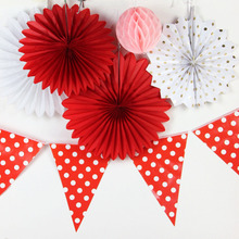 Hanging Paper Decoration Kit Gold Polka Dot Accordion Paper Fan Flag Banner Pinwheels Valentine Decoration Wedding Showers Party