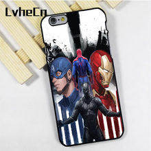 LvheCn phone case cover fit for iPhone 4 4s 5 5s 5c SE 6 6s 7 8 plus X ipod touch 4 5 6 Captain America Iron Man Spiderman Black(China)
