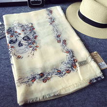 Hot sale skull scarf/scarves filbert print shawl cosy warm lady's muffler muslim wraps big pashmina fashion print scarves