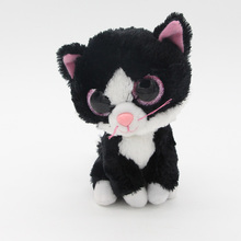 "Ty Beanie Boos Big Eyes 6"" Plush Black Cats Animal Toys"