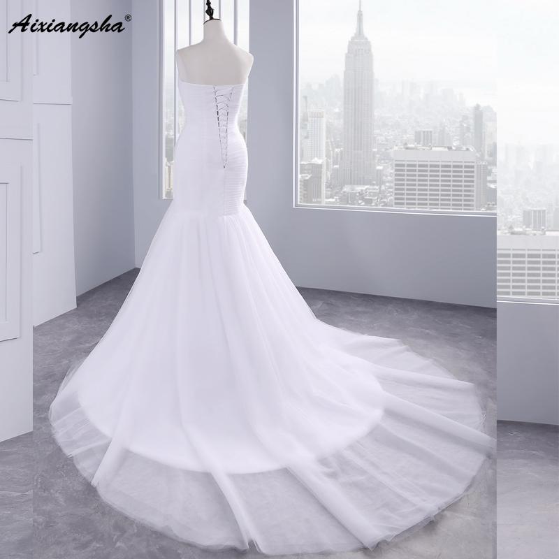 Hot sale floor length pleat cheap wedding dresses tulle robe de mariage Elegant Mermaid wedding dress 2017 2