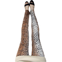 Fashion Pink Leopard Leggings Milk Silk Brushed Leopard Pencil Pants Stretch Leopard Print Leggings Calzas Leggins BG260(China)