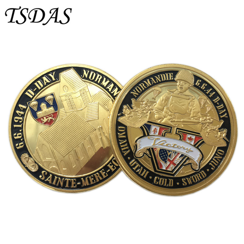 Normandie War 70-year Anniversary 24K Gold Plated Coin Military Medal 40*3 Challenge Coin For Souvenir American Coin(China)