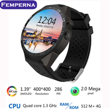 "KW88 Android 5.1 Smart Watch 1.39"" MTK6580 Quad Core 3G WIFI GPS Smartwatch Support Heart Rate Monitor SIM Card with 2.0 Camera"