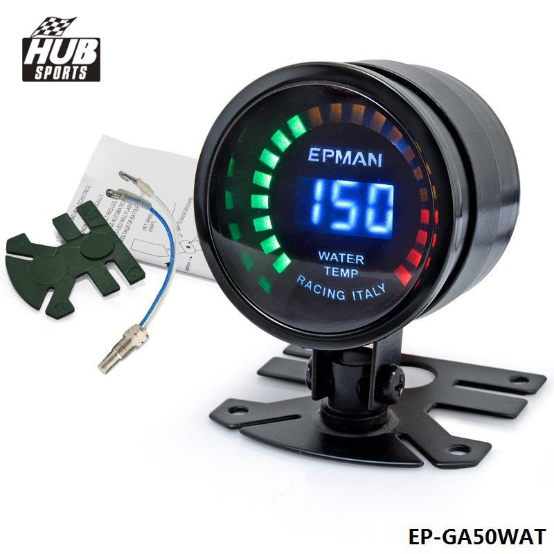 Hubsports-2015 New EPman racing 52mm Smoked LED Digital Water Temperature Temp Meter with Sensor bracket For Scion HU-GA50WAT