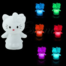 Nice Party Animal Decoration Lamp Cute Cat Colorful Changing Small LED Night Light(China)