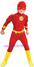 The flash Muscle Kids DC comic Superhero fancy dress fantasia halloween costumes disfraces for child boy's cosplay clothing(China)