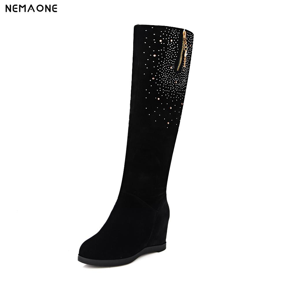 NEMAONE New Sexy Womens Hidden Wedges Knee high Boots Brand High Heels Platform Boots Slip on Winter Boots Shoes Woman Boots<br>